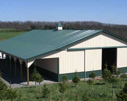 40' x 80' x 12' High Pole Barn with 8' Wide Open Porch