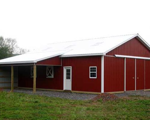 24' x 30' x 10' high Horse Shed with Open Run-In Porch