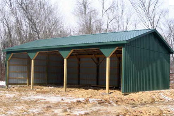 24' x 40' x 10' high Pole Building with Open Front Side