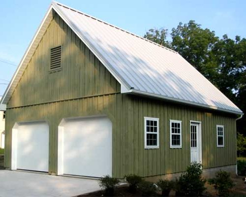 24' x 30' x 8' high 2 Car Garage with Concrete Block Foundation