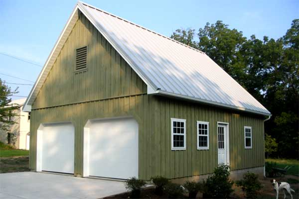 24' x 30' x 8' high 2 Car Garage with Concrete Block Foundation