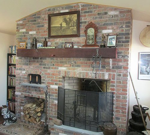 New brick fireplace